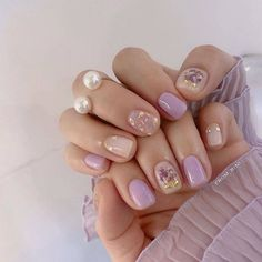 korean nail art # # # # # # # # # # by - , Shellac Nail Art, Nail Manicure, Nail Polish, Cute Nails, Pretty Nails, Asian Nails, Kawaii Nail Art, Les Nails, Minimalist Nails