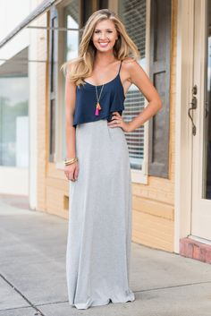 You can have this dress in your hands in good time! Even better time if you purchase it now!! This jersey knit maxi dress is so soft and comfy! We love the color combo too! This is one casual maxi you will never get tired of rocking!