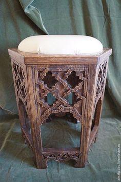 Купить Табурет-пуфик из дуба в марокканском стиле. - табурет, табуретка, пуфик, мягкая мебель, стул