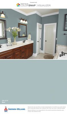 ideas for bathroom paint colors brown cabinets Guest Bathroom Colors, Bathroom Color Schemes, Bedroom Colors, Design Bathroom, Bathroom Ideas, Paint Bathroom, Bath Ideas, Bathroom Layout, Master Bathroom