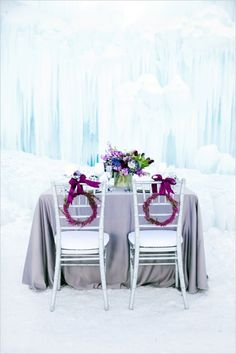 Icy tablescape inspiration for a wedding inspired by Disney's Frozen. Seating Plan Wedding, Wedding Chairs, Wedding Tables, Wedding Reception, Wedding Ideas, Wedding Details, Wedding Decor, Wedding Stuff, Frozen Wedding Theme