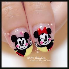 Disney Mickey Mouse & Minnie Mouse Nail Mickey Nails, Minnie Mouse Nails, Mickey Mouse, Disney Mickey, Korean Nail Art, Korean Nails, Gel Nail Designs, Dog Design, Nail Inspo