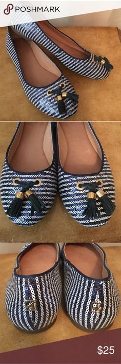 Sequin white and blue striped flats Adorable flats with sequins and tassels! Sperry Shoes Flats & Loafers