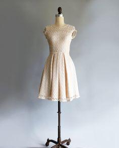 GOSSAMER | Champagne -  vintage ivory off white lace bridesmaid dress. short sleeve lace wedding dress. vintage inspired cocktail dress