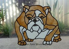 Bulldog faux leadlight / stained glass window cling/decal.  Made using Plaid Gallery Glass paints (Design compliments of Chantal Pare)