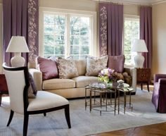 Within the mid-tone… Purple Living Room Interior Design Ideas: Homely Heathers. Within the mid-tone ranges of purple [. Home Interior, Living Room Interior, Interior Design Living Room, Living Room Furniture, Living Room Designs, Living Room Decor, Purple Interior, Art Furniture, Bedroom Designs