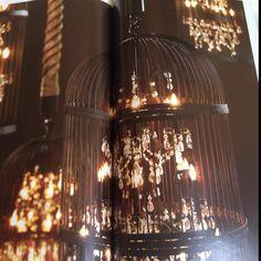Crystal chandeliers in birdcages? I die.  Restoration hardware