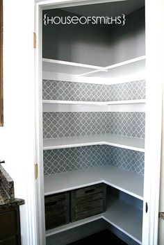pantry wallpaper in the background like the idea; do in master closet