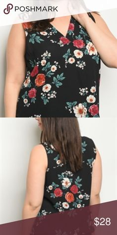 d026993b9487f PLUS SIZE BLACK FLORAL TOP Plus size black with floral print sleeveless top  Zenobia Tops Floral