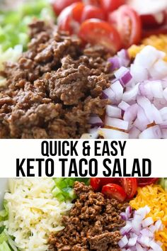 Healthy Dinner Recipes, Low Carb Recipes, Ground Beef Keto Recipes, Carb Free Meals, Breakfast Smoothie Recipes, Keto Lunch Ideas, Healthy Salads, Healthy Food, Keto Taco Salad