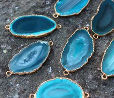 Turquoise Green Agate 1.96'' slice CONNECTOR slab by madameperlina