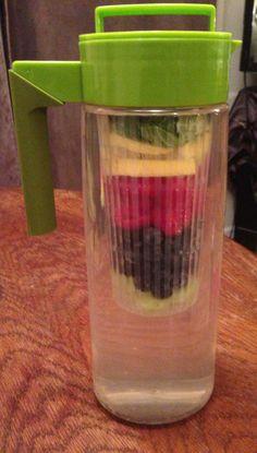 Infused water: cucumber, blueberry, raspberry, lemon, garden mint, spoonful of honey.