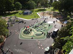 Parkleken Draken, Södermalm, Stockholm, Sweden by Nyréns Arkitektkontor Park Playground, Playground Design, Outdoor Playground, Landscape And Urbanism, Urban Landscape, Landscape Design, Kids Play Spaces, Urban Park, Urban Furniture