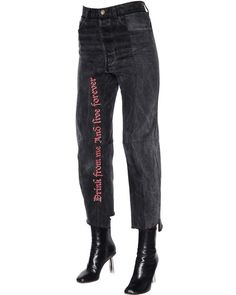 Vetements | Black Embroidered Rework Cotton Denim Jeans | Lyst