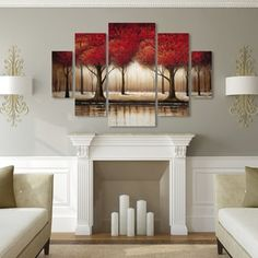 Copper Grove Parade of Red Trees' 5 Panel Art Set