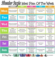 Slender Suzie 21 Day Fix Meal Plan of the Week.  Need more help and meal plans? Let me know how I can help!