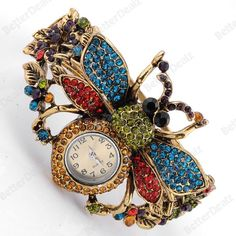 1PC cheapColorful Crystal Bee Watch Bronze Metal Hinged Bracelet Bangle Jewelry