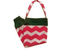 Fabric Plastic Bag Holder Pink Chevron and Green   by bagsbyhags45, $10.00