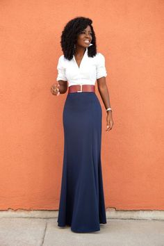 White Button Down Shirt   High Waist Maxi Skirt