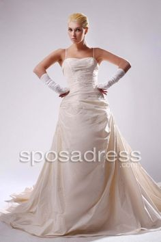 New Designer A-line Beading Cathedreal Train Wedding Gown With Straps