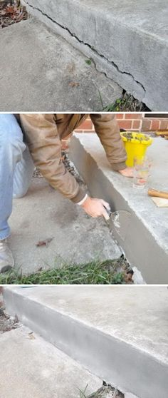 How to Repair Cracked Concete. How to Repair Cracked Concete. How to Repair Cracked Concete. Home Improvement Projects, Home Projects, Home Improvements, Home Renovation, Home Remodeling, Repair Cracked Concrete, Garage Atelier, Beton Design, Home Fix