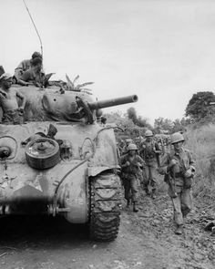 british-eevee:  M4 Sherman and US troops on the move through the Philippines (1945)