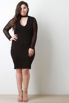Keyhole Contrast Mesh Long Sleeve Bodycon Dress