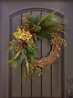 Fall Wreath-Autumn Wreath-Twig-Winter Christmas Holiday Wreath- Grapevine Door Decor-Fall Decor on Etsy, $85.00