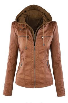 Khaki Fashion Zipped Jacket With Removable Hood - US$57.95 -YOINS