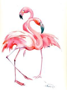 Two Flamingos, Original watercolor painting, 16 x 12 in, flamingo lover art… Flamingo Art, Pink Flamingos, Flamingo Painting, Pink Painting, Watercolor Animals, Watercolor Paintings, Painting & Drawing, Watercolour, Guache