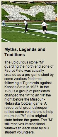 """University of Missouri - Myths, Legends and Traditions: Faurot Field """"M""""!"""