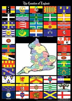 Counties of England Us States Flags, Countries And Flags, Countries Of The World, Uk History, Mystery Of History, British History, County Flags, County Map, Great Britain United Kingdom