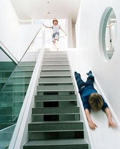 Sometimes stairs can be very boring. That is why some creative people decide to make indoor slides. Indoor slides are very fun and exciting.