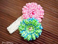 $15.00 Flower Headband Set of (2) Wear as a clip or headband, interchangeable flowers! www.bowemgee.com Click the photo! #hair #flowerheadband #baby