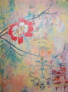 Archival Print of Chinoiserie  Peony on Pink with by annieflynn1, $15.00