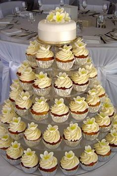 I like the idea of a cupcake tower with a small cake topper, not that this display is exactly what I had in mind...