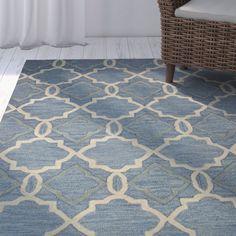 Sally Blue Geometric Wool Hand-Woven Area Rug