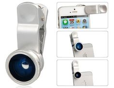 Universal Wide Angle & Macro & Fish Eye Lens with Clip for iPhone 5, 4 & 4S (Silver). *Features : Combines wide angle lens, macro lens and fish eye lens together Suitable for iPhone 5, 4 & 4S, cell phones, tablet PCs Helps to achieve perfect imaging effect while photographing by iPhone 5, 4 & 4S Use the macro lens to take picture of tiny objects clearly in details Use the wide angle lens to photograph shooting vision Equipped with a clip Convenient and practical to use *General Specs…