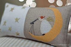 Cross Stitching Angel Moon Christmas / Kreuzstich Engel Mond Weihnachten Astronomie