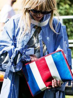 Balenciaga clutch purse in patriotic tri-colour