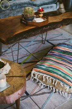 diy boho floor pillow using dollar store rugs