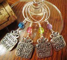 Girls Night Out Wine Charms  Set of Four by winecubby on Etsy, $12.50