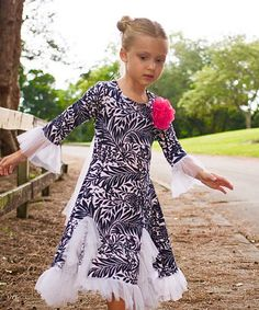 Another great find on #zulily! Navy & White Leaf Flamenco Ruffle Dress - Toddler & Girls #zulilyfinds
