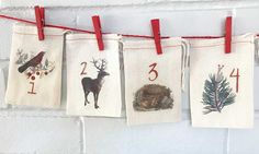 Woodland Rustic Advent Calendar Bags  Nature Vintage Style
