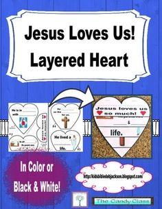 I created this layered heart to discuss a couple of things Jesus did to show His love for us. He came to earth, was born, lived a perfect life, and died on the cross. You can print it in color or black & white.  You can see this printable I used with the Crucifixion of Jesus lesson  with more ideas and printables @ Bible Fun For Kids .
