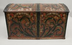 Norwegian Rosemaling Trunk from 1856