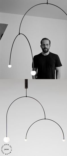 Mobile Chandelier 9is one of the 15 new lighting designs thatMichael Anastassiadeslaunched in Milan this year, extending the collection of minimal mobile chandeliers and spherical lamps produced by his own brand.Photographs by Hélène Binet.