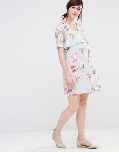 Bluebelle Maternity Nursing Floral Print Double Layer Swing Dress