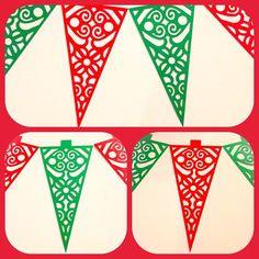 Banderines navideños de papel! $10.000 el metro, encarga los tuyos! Colores rojo, verde o dorado ❤️✨