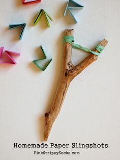 homemade paper slingshots - DIY fun for kids
